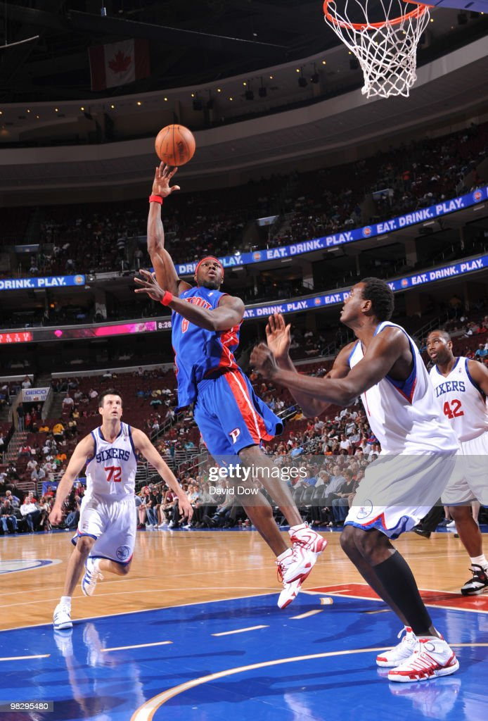 Ben Wallace of the Detroit Pistons shoots against Samuel Dalembert of the Philadelphia 76ers during the game on April 6 2010 at the Wachovia Center...