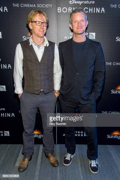 Ben Wallis and Barnaby Taylor attend Disneynature with the Cinema Society host the premiere of 'Born in China' at Landmark Sunshine Cinema on April 8...