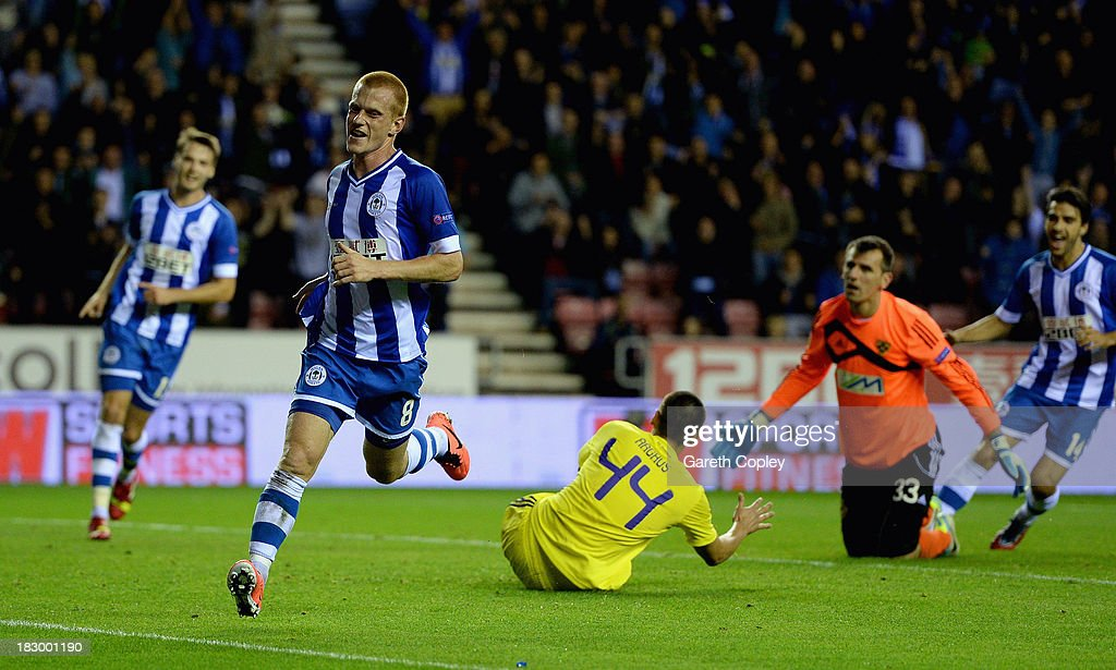 Ben Watson of Wigan celebrates scoring the second goal during the UEFA Europa League match between Wigan and NK Maribor at DW Stadium on October 3, 2013 in Wigan, England.