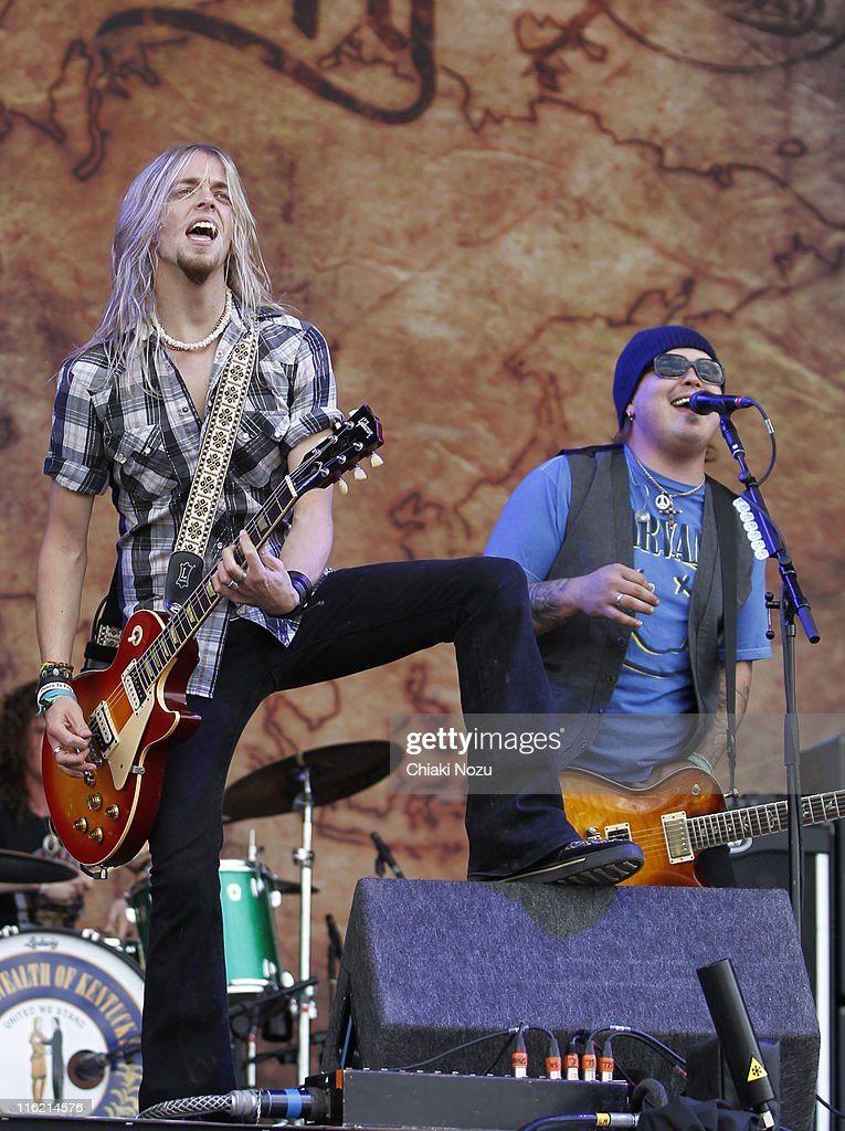 Ben Wells and Chris Robertson of Black Stone Cherry perform on day one of the Download Festival at Donington Park on June 10, 2011 in Castle Donington, England.