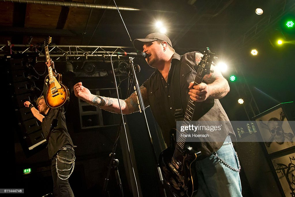 Ben Wells and Chris Robertson of the American band Black Stone Cherry perform live during a concert at the Postbahnhof on February 20, 2016 in Berlin, Germany.