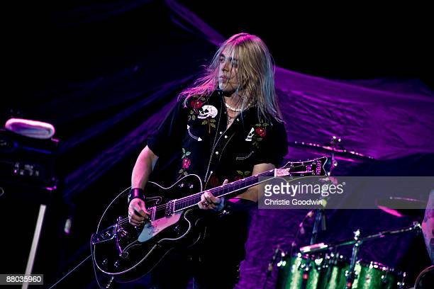 Ben Wells of Black Stone Cherry performs on stage at the O2 Arena on May 28 2009 in London England
