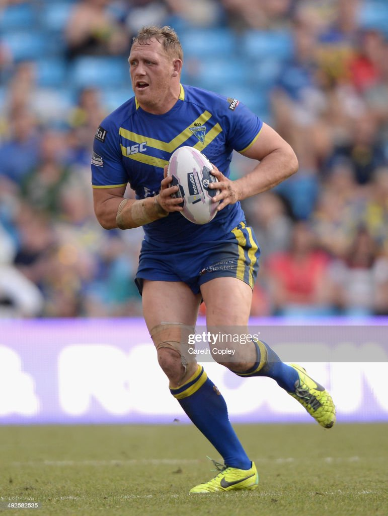 Ben Westwood of Warrington Wolves in action during the Super League match between Warrington Wolves and St Helens at Etihad Stadium on May 18, 2014 in Manchester, England.