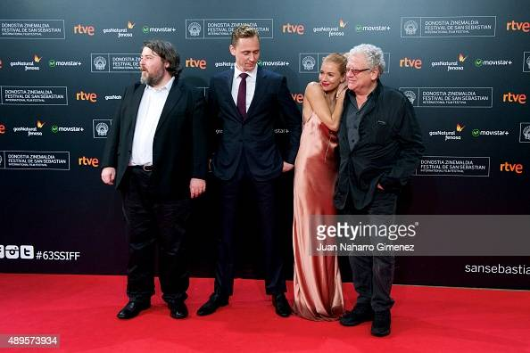 Ben Wheatley Tom Hiddleston Sienna Miller and Jeremy Thomas attend 'HighRise' premiere during 63rd San Sebastian Film Festival on September 22 2015...
