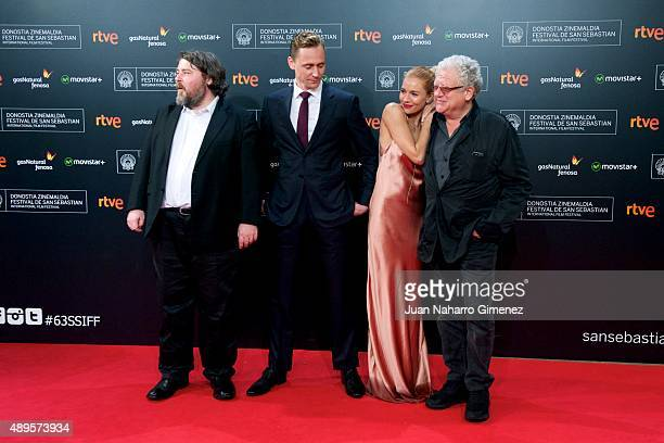 Ben Wheatley Tom Hiddleston Sienna Miller and Jeremy Thomas attend 'HighRise' premiere during 63rd San Sebastian Film Festival on September 22 2015...