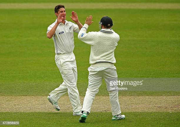 Ben Wheeler of New Zealand celebrates after dismissing Johann Myburg of Somerset during a tour match between Somerset and New Zealand at The County...