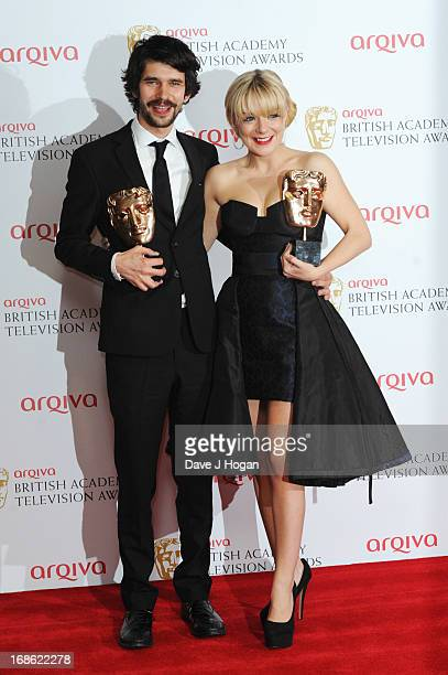Ben Whishaw and Sheridan Smith pose with their Best Actor and Actress Awards in front of the winners boards at the BAFTA TV Awards 2013 at The Royal...