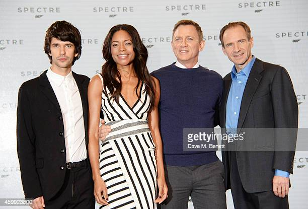 Ben Whishaw Naomie Harris Daniel Craig and Ralph Fiennes attend a photocall with cast and filmmakers to mark the start of production which is due to...