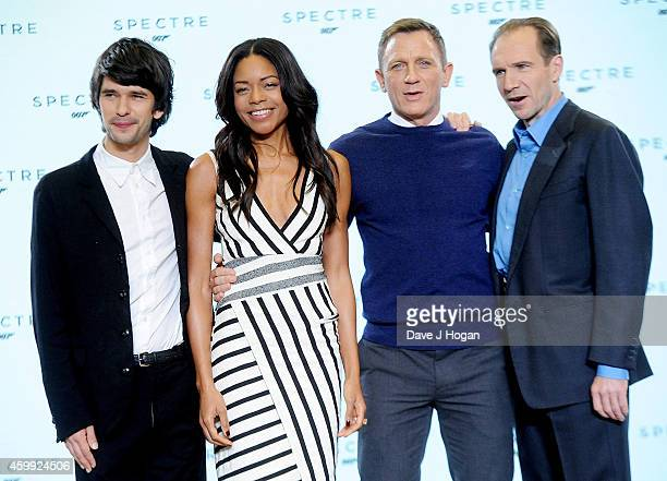 Ben Whishaw Naomie Harris Daniel Craig and Ralph Fiennes attend a photocall with cast and filmmakers to mark the start of the production of the 24th...