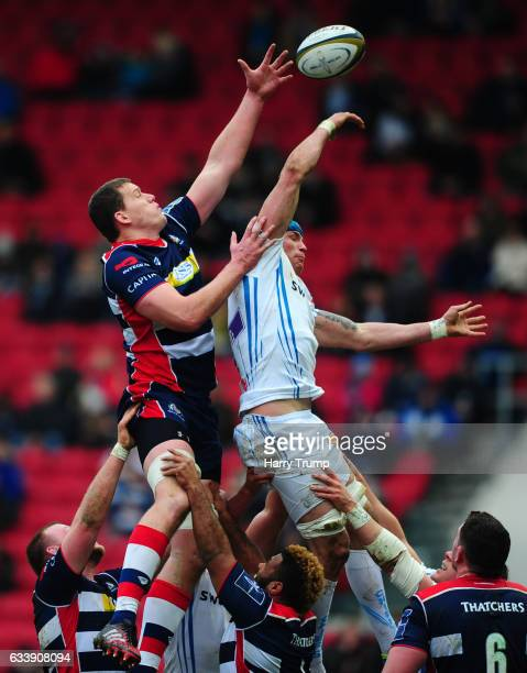 Ben White of Exeter Chiefs challenges for the line out ball with James Phillips of Bristol Rugby during the AngloWelsh Cup match between Bristol...