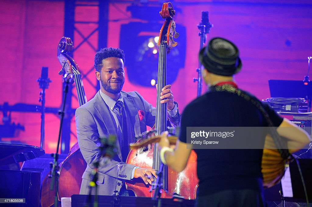Ben Williams and Dhafer Youssef perform on stage during the International Jazz Day 2015 Global Concert at UNESCO on April 30, 2015 in Paris, France.