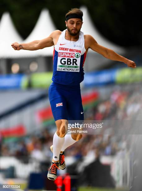 Ben Williams of Great Britain competes in the Men's Triple Jump Final during day three of the European Athletics Team Championships at the Lille...