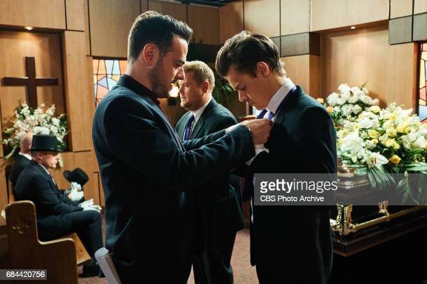Ben Winston assists Harry Styles with his tie during a sketch with James Corden during 'The Late Late Show with James Corden' Monday May 15 2017 On...