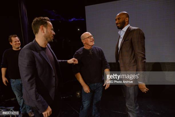 Ben Winston Glen Keane and Kobe Bryant chat during 'The Late Late Show with James Corden' Wednesday December 6 2017 On The CBS Television Network