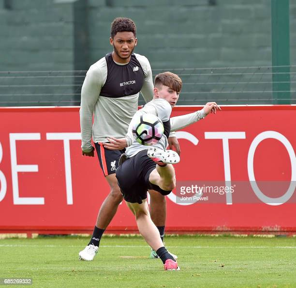 Ben Woodburn and Joe Gomez of Liverpool during a training session at Melwood Training Ground on May 19 2017 in Liverpool England