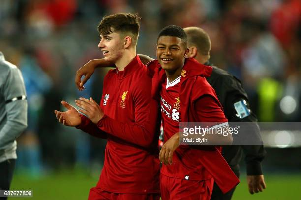 Ben Woodburn and Rhian Brewster of Liverpool celebrate winning the International Friendly match between Sydney FC and Liverpool FC at ANZ Stadium on...