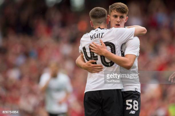 Ben Woodburn and Ryan Kent of Liverpool celebrate scoring during the PreSeason Friendly match between Liverpool FC and Athletic Club Bilbao at Aviva...