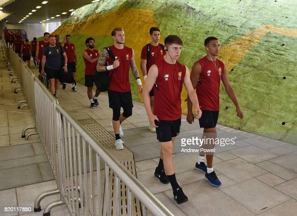 Ben Woodburn and Trent AlexanderArnold of Liverpool arrives before a training session on July 21 2017 in Hong Kong Hong Kong