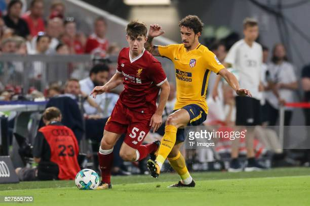 Ben Woodburn of Liverpool and Sime Vrsaljko of Atletico Madrid battle for the ball during the Audi Cup 2017 match between Liverpool FC and Atletico...