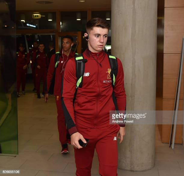 Ben Woodburn of Liverpool arrives before a pre season friendly match between Liverpool and Athletic Bilbao at Aviva Stadium on August 5 2017 in...
