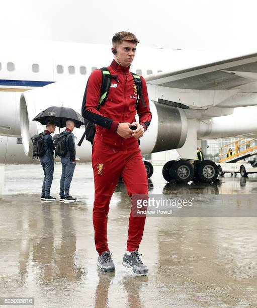 Ben Woodburn of Liverpool arriving at Munich International Airport for the pre season training camp on July 26 2017 in Munich Germany