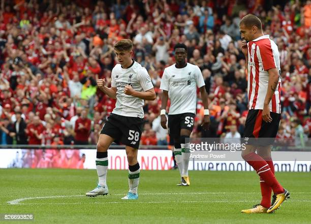 Ben Woodburn of Liverpool celebrates after scoring the second during a pre season friendly match between Liverpool and Athletic Bilbao at Aviva...