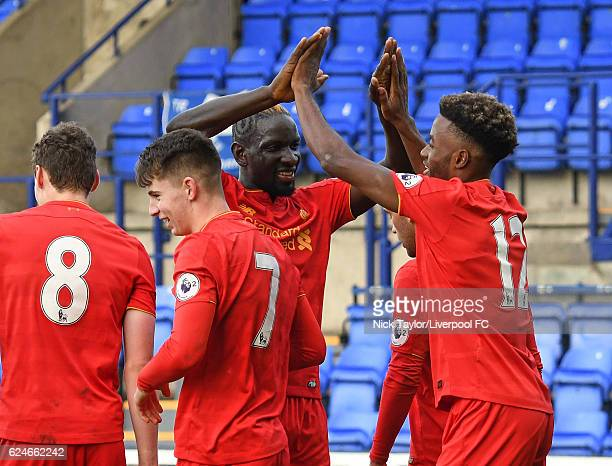Ben Woodburn of Liverpool celebrates his goal with Matthew Virtue Mamadou Sakho and Madger Gomes during the Liverpool v Reading Premier League 2 game...
