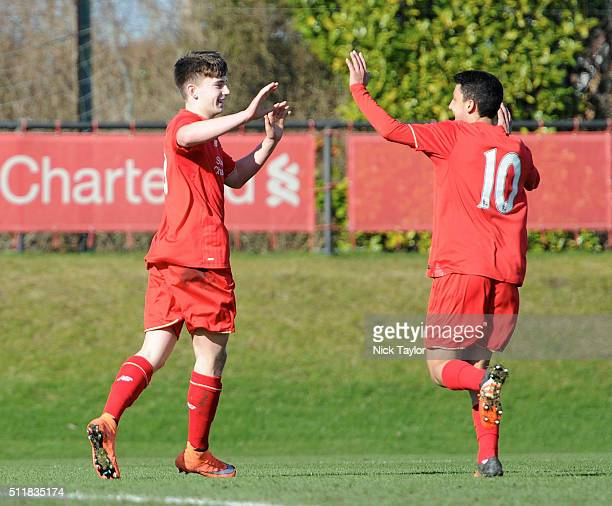 Ben Woodburn of Liverpool celebrates his goal with team mate Paulo Alves during U18 Premier League match between Liverpool and Sunderland at the...