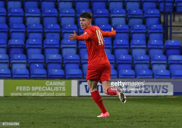 Ben Woodburn of Liverpool celebrates scoring his second goal of the game during the Liverpool v Manchester City Premier League 2 game at Prenton Park...