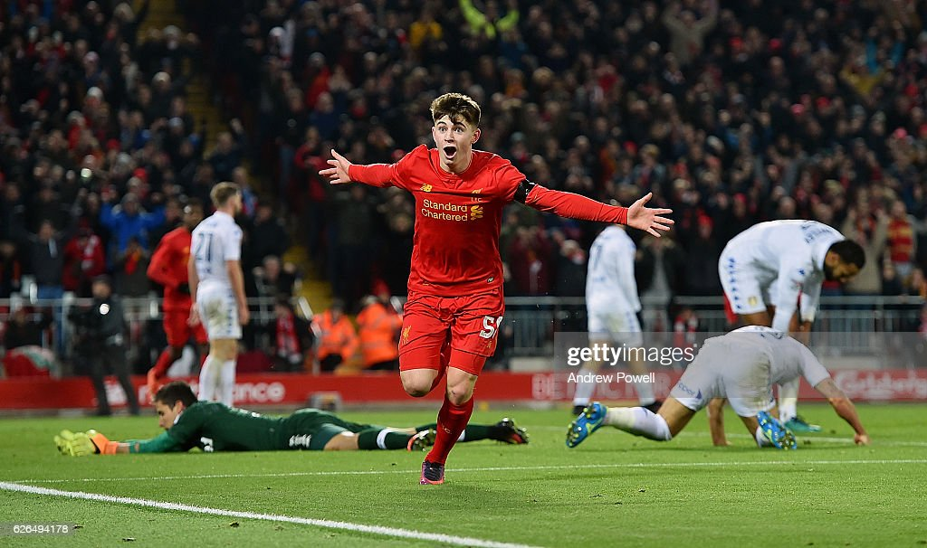 Ben Woodburn of Liverpool celebrates scoring the second goal, making him the youngest goalscorer in Liverpool history during the EFL Cup Quarter-Final match between Liverpool and Leeds United at Anfield on November 29, 2016 in Liverpool, England.
