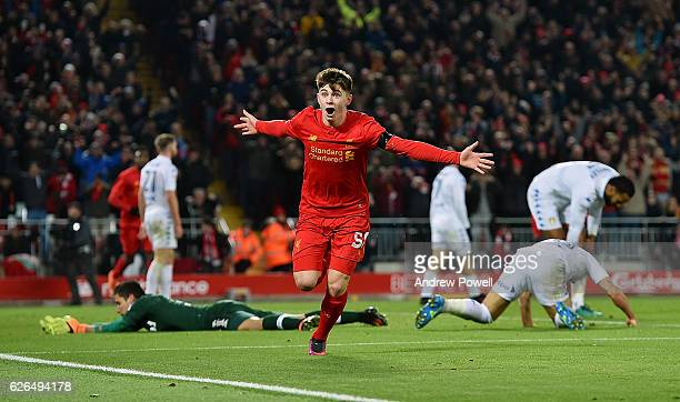 Ben Woodburn of Liverpool celebrates scoring the second goal making him the youngest goalscorer in Liverpool history during the EFL Cup QuarterFinal...