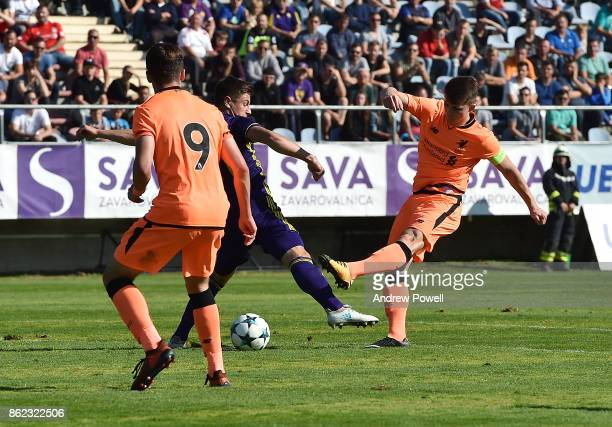 Ben Woodburn of Liverpool comes close during the UEFA Youth League group E match between NK Maribor and Liverpool FC at on October 17 2017 in Maribor...