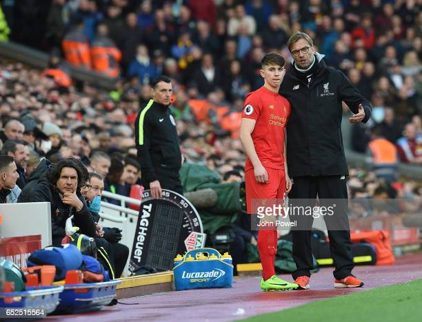 Ben Woodburn of Liverpool comes on during the Premier League match between Liverpool and Burnley at Anfield on March 12 2017 in Liverpool England