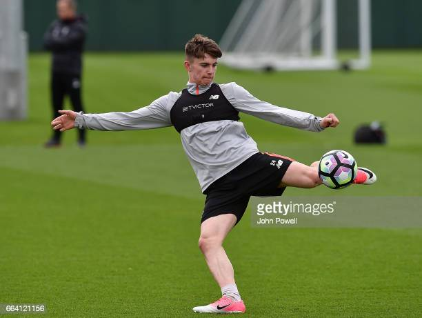 Ben Woodburn of Liverpool during a training session at Melwood Training Ground on April 3 2017 in Liverpool England