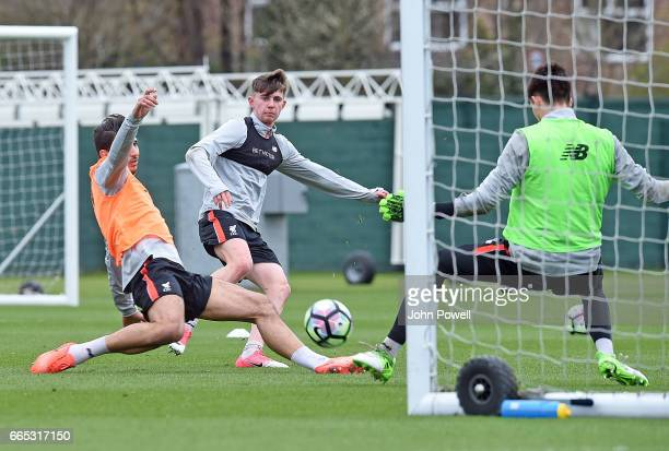 Ben Woodburn of Liverpool during a training session at Melwood Training Ground on April 6 2017 in Liverpool England