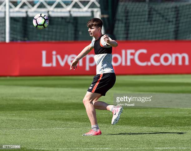 Ben Woodburn of Liverpool during a training session at Melwood Training Ground on May 3 2017 in Liverpool England