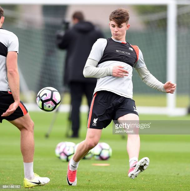 Ben Woodburn of Liverpool during a training session at Melwood Training Ground on May 17 2017 in Liverpool England