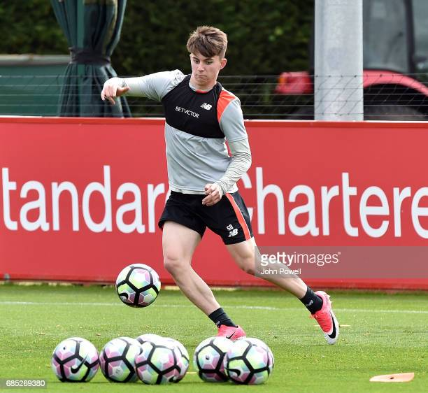 Ben Woodburn of Liverpool during a training session at Melwood Training Ground on May 19 2017 in Liverpool England