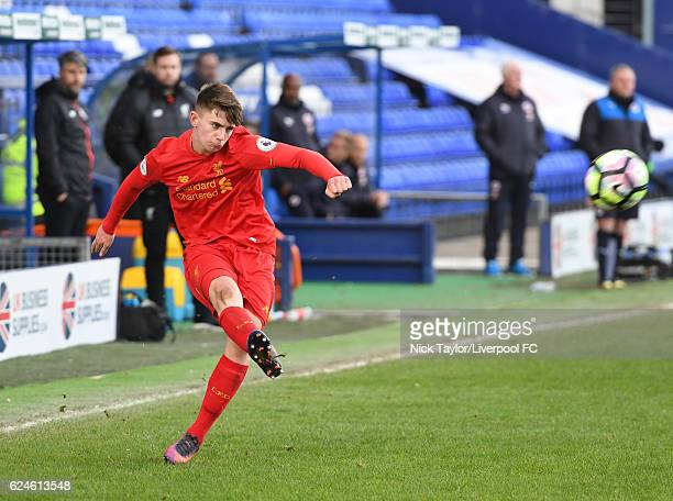 Ben Woodburn of Liverpool in action during the Liverpool v Reading Premier League 2 game at Prenton Park on November 20 2016 in Birkenhead England