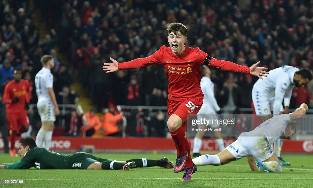 Ben Woodburn of Liverpool scores the second and celebrates during the EFL Cup Quarter-Final match between Liverpool and Leeds United at Anfield on November 29, 2016 in Liverpool, England. The goal makes Woodburn the youngest ever goalscorer for Liverpool aged 17 years and 45 days.