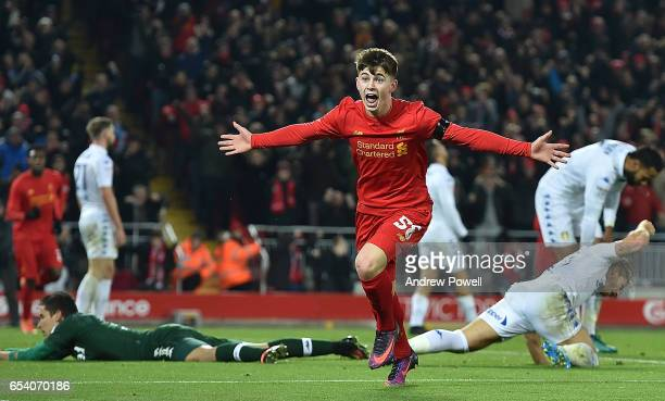 Ben Woodburn of Liverpool scores the second and celebrates during the EFL Cup QuarterFinal match between Liverpool and Leeds United at Anfield on...