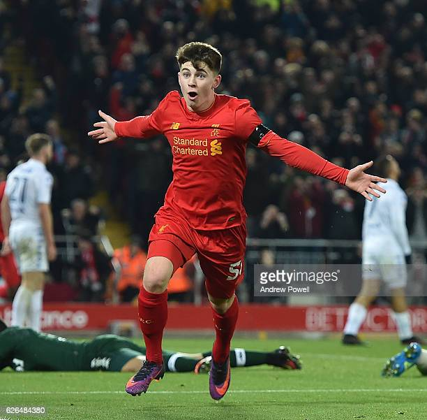 Ben Woodburn of Liverpool scores the second and celebrates Makes him the youngest ever goalscorer for liverpool during the EFL Cup QuarterFinal match...