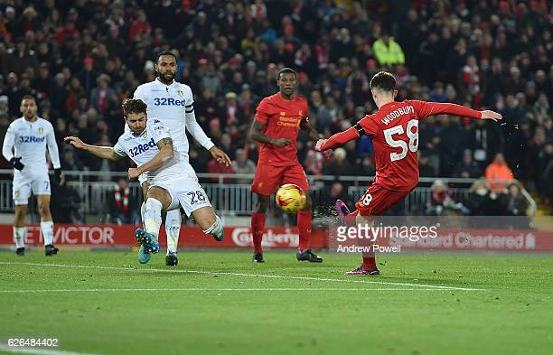 Ben Woodburn of Liverpool scores the second and makes him the youngest ever goalscorer for liverpool during the EFL Cup QuarterFinal match between...