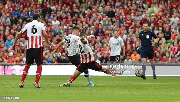Ben Woodburn of Liverpool scoring the second during a pre season friendly match between Liverpool and Athletic Bilbao at Aviva Stadium on August 5...