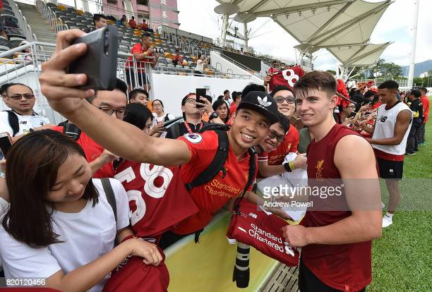 Ben Woodburn of Liverpool signing autographs at the end of a training session on July 21 2017 in Hong Kong Hong Kong