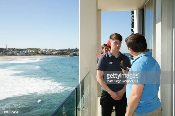 Ben Woodburn of Liverpool speaks to the media during a Liverpool FC Fan Day at Bondi Beach on May 25 2017 in Sydney Australia