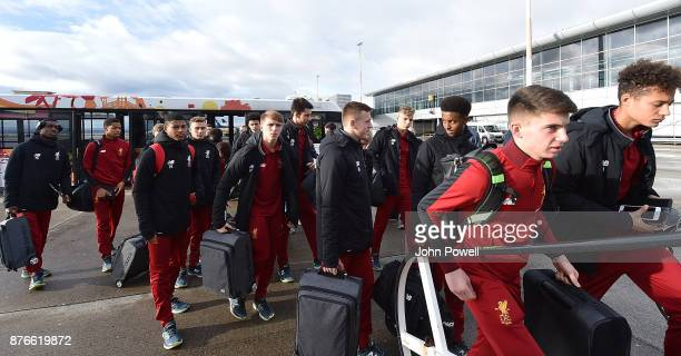 Ben Woodburn of Liverpool U18's and the rest of his team before departing for the group E Champions League match between Sevilla and Liverpool at...