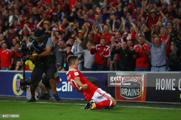 Ben Woodburn of Wales celebrates scoring the winning goal during the FIFA 2018 World Cup Qualifier Group D match between Wales and Austria at Cardiff...