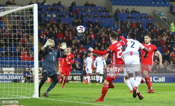 Ben Woodburn of Wales heads the ball towards goal during the International Friendly match between Wales and Panama at The Cardiff City Stadium on...