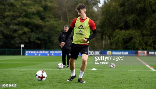 Ben Woodburn of Wales in action during Wales training ahead of their World Cup Qualifiers at Vale Hotel on October 2 2017 in Cardiff Wales